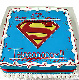 Birthday Cake Square Superman