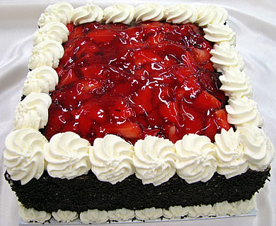 square strawberry cake