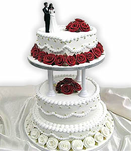 square four tiers wedding cake